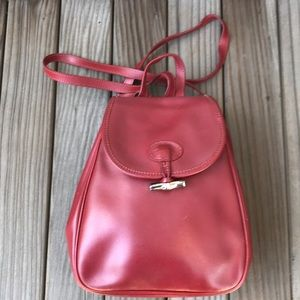 Longchamp Roseau red leather backpack